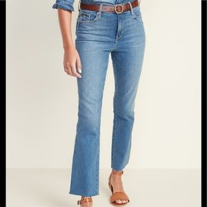 High Waisted Flare Ankle Jeans